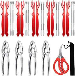 26 piece Seafood Tools Set - 4 Crab leg ers,10 Crab Forks, 10 Red Lobster Shellers, 1 Seafood Scissors and Black Storage B...