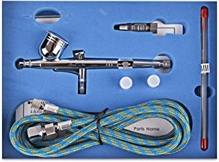 Yenny shop SP130K Double-Action Trigger Air-Paint Control Airbrush Dual Action Airbrush Kit 0.2mm/0.3mm /0.5mm Needle Air Brush Spray Gun Paint Art for Tattoo, Nail Beauty, Makeup, Cake Decorating