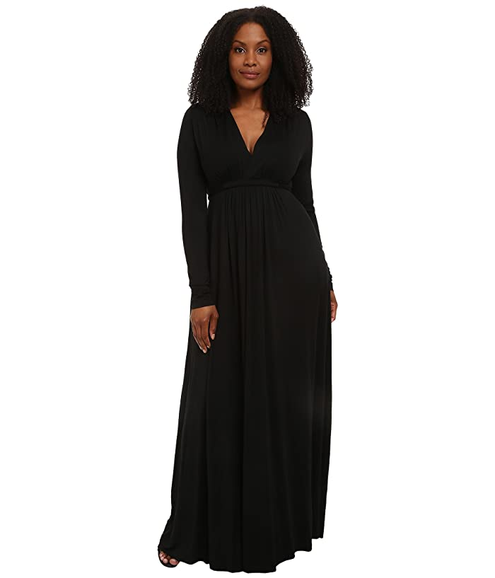 Rachel Pally Plus Size Long Sleeve Full Length Caftan (Black) Women's Dress