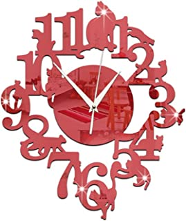(Red Color) NEW home decor wandklok creative wall watch reloj Acrylic Cats Lovery large
