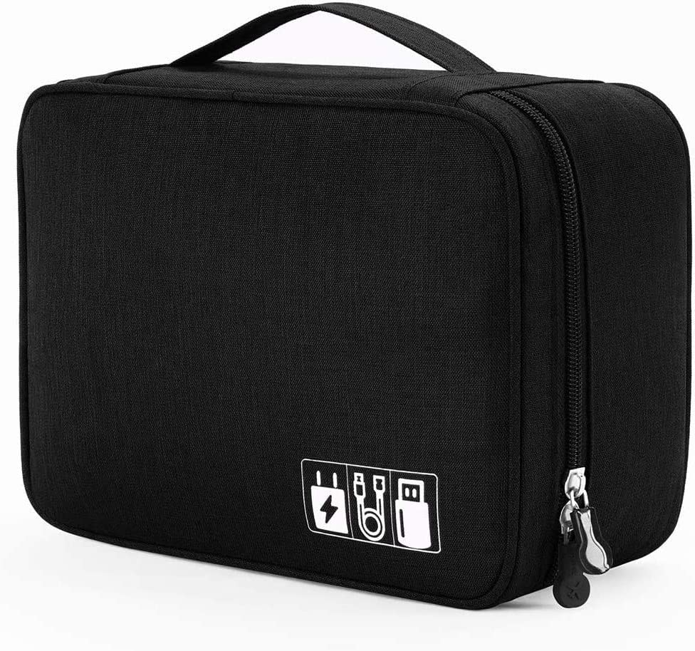 Portable Electronic Organizer Travel Accessories Cable Bag Universal Cord Storage Case Carrying for Charging Cable, Cell Phone, Power Bank,Mini Tablet(Single Layer,Black)
