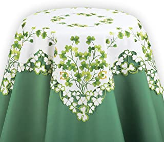 Collections Etc St. Patricks Day Table Linens w Shamrocks, Clover Leaves, Square