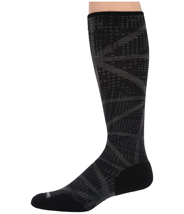 Smartwool  Compression On The Move Print OTC (Black) Mens Crew Cut Socks Shoes