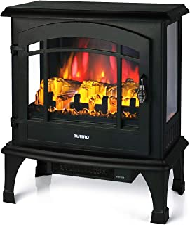 TURBRO Suburbs TS23 Electric Fireplace Heater, Freestanding Fireplace Stove with Realistic Flame - Brightness Adjustable Effect - Remote Control - Timer - 23