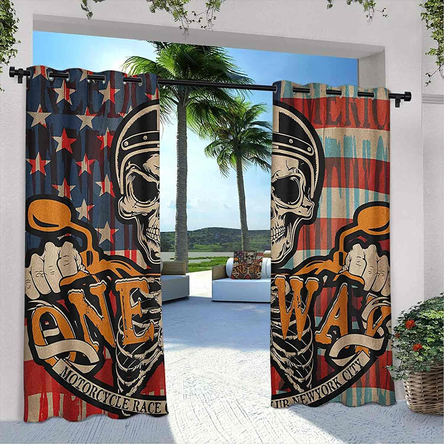Outdoor Detroit Mall Privacy Skull Curtain Motorcyclist Very popular with Vintage a