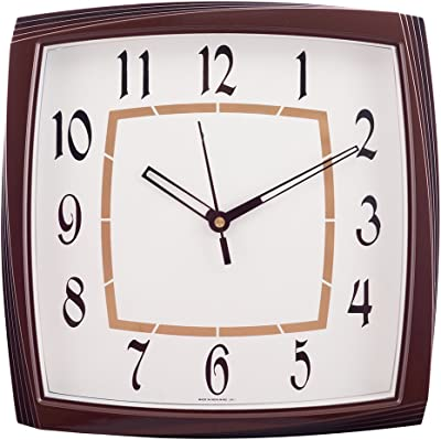 eCraftIndia Decorative Square Plastic Analog Wall Clock (27 cm x 3 cm x 27 cm, Brown)