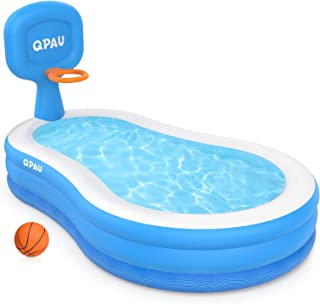 QPAU Inflatable Hoop Swimming Pool, Basketball Hoops Swimming Center Family Pool for Kids, Adults, Outdoor, Backyard, Pool...