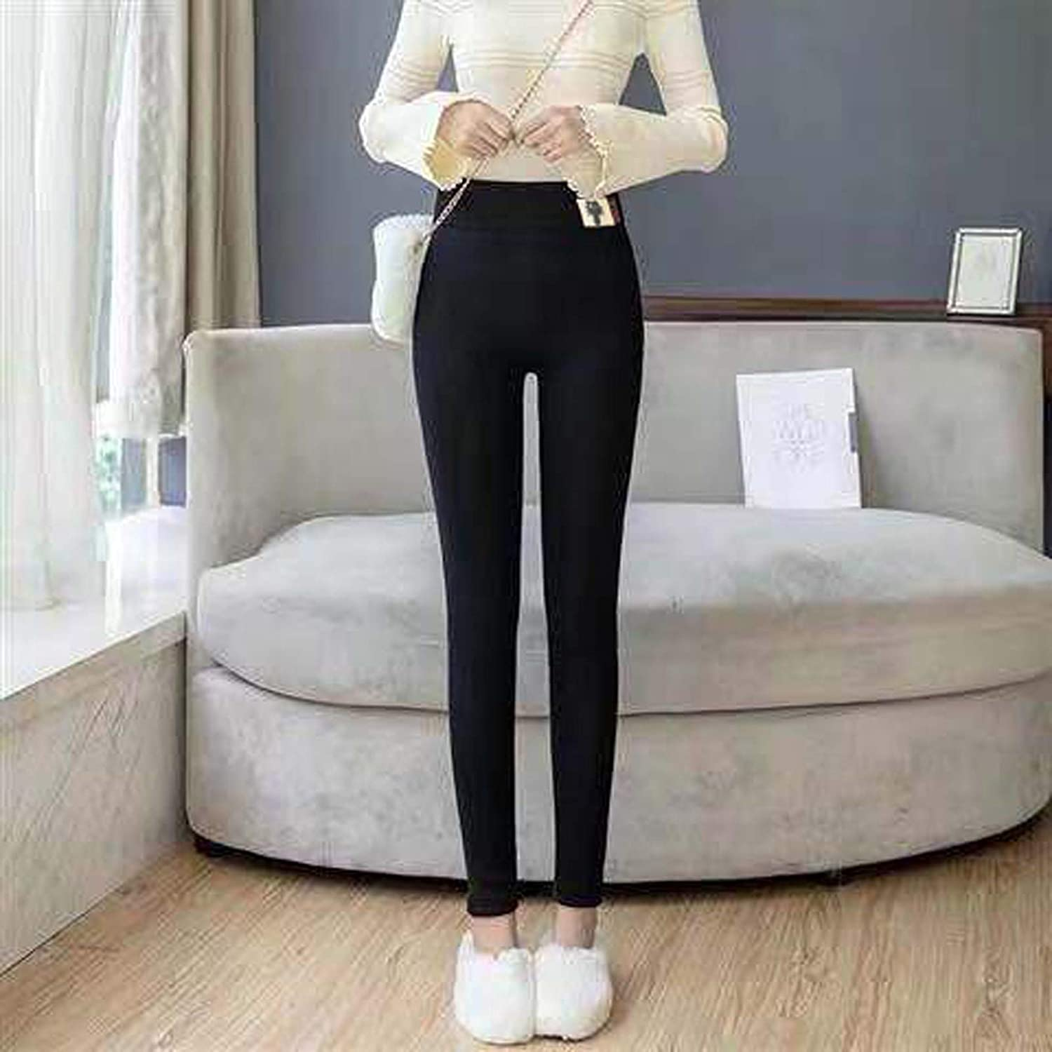 Black Grey High Waisted Keep Warm Slim Pants NoxwB Winter Warm Leggings for Women Thick Cashmere Casual Long Pants