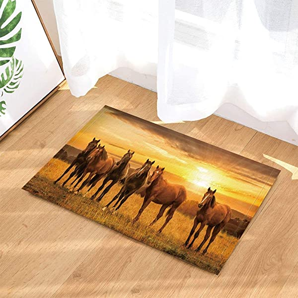 Yellow Sunset Yellow Meadow Brown Horse Bathroom Mat Right Angle Non Slip Door Pad Children 40X60CM