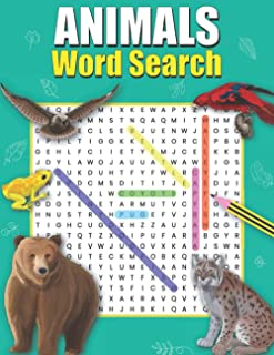 Animals Word Search: A-Z Animal Puzzle Word Search Book For Kids 9-12   Kids Travel Activity   Dover Little Activity Book