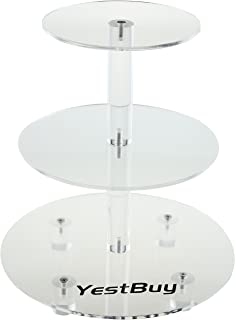 YestBuy 3 Tier Round Wedding Party Acrylic Cake Cupcake Tree Tower Maypole Display Stand 1 pc/Pack (3 Tier Round with Base(4.7