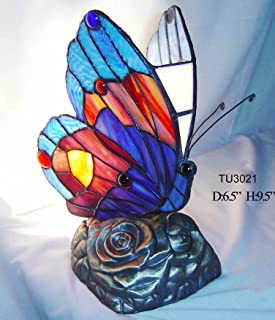 Warehouse of Tiffany's TU2021 Tiffany Style Blue Butterfly Accent Lamp, One Size, red