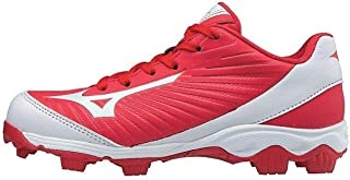 (MIZD9 Boys' 9-Spike Advanced Franchise 9 Molded Youth Baseball Cleat-Low Shoe, Red/White, 1 US Little Kid