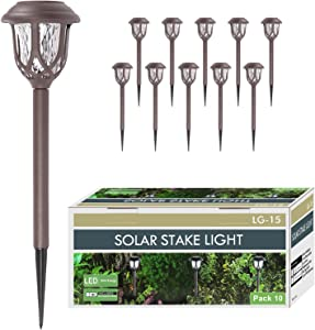 HAFUNA 10Pcs Solar Pathway Lights Outdoor, Solar Powered Garden Led Light with Stake, Waterproof Lamp Decoration for Walkway Patio Yard (Warm White)