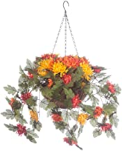 """OakRidge Fully Assembled Artificial Mum Hanging Basket, Multi, 10"""" Diameter with 18"""" Long Chain – Polyester/Plastic Flowers in Metal/Coco Fiber Liner Basket for Indoor/Outdoor Use"""