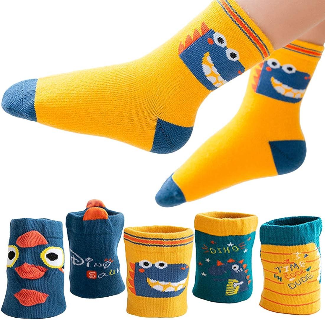 T WILKER 5 Pares de Calcetines para Niños, Espesar Los Patrones de Dibujos Animados Térmicos de Algodón Calcetines para Niños de 1 a 12 Años