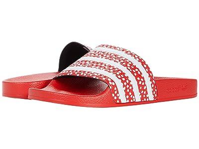 adidas adilette (Footwear White/Vivid Red/Footwear White) Women