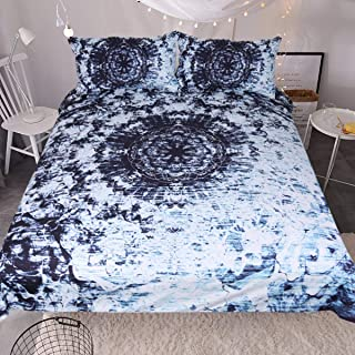 Sleepwish Indigo Blue Tie Dye Ink Bedding Watercolor Mandala Boho Gypsy Bedding Duvet Cover Retro Bed Set (Queen)