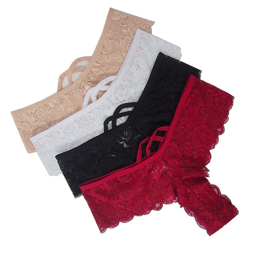 4 Pack Women's Lace Thongs Bikini Panties Sexy Lingerie Panty G-String Underwear