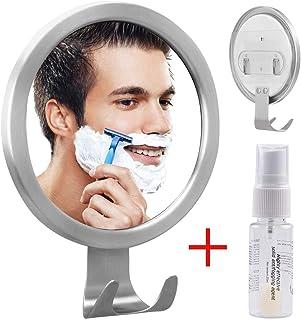 GlobaLink Espejo Antivaho Redondo Espejo Ideal para Afeitar Maquillaje Cosméticos Ducha Cuarto de Baño Pared con Gancho Fijación Adhesiva Agente Anti-Niebla Color Plateado Acero Inoxidable Regalo