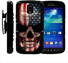 TurtleArmor | Compatible with Samsung Galaxy S4 Active Case | I9295 | I537 [Hyper Shock] Hybrid Dual Layer Armor Holster Belt Clip Case Kickstand - US Flag Skull