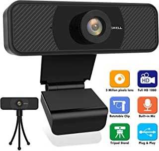 1080P Webcam with Microphone, Upgraded 2020 BOSWELL 5 Megapixel Full HD PC Desktop or Laptop Webcam, 5 Millon Lens Streaming USB PC cam, Stream Cam for Video Calling with Flexible Rotatable Tripod