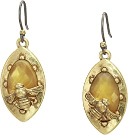Small Citrine Bee Drop Earrings