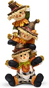 Thanksgiving Decorations Scarecrow Tabletop Decor, Fall Decor Figurine Autumn Table Topper Decoration, Cute Stacked Smiling Scarecrow Resin Centerpiece for Fireplace Mantle Home by Gift Boutique
