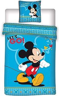 MICKEY - Juego de cama de Disney – Funda nórdica para cama individual – 140 x 200 cm + 63 x 63 cm + 1 cojín con relieve de 40 cm