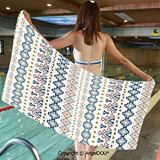 AngelDOU Printed Bath Sport Travel Beach Towels Tribal Ethnic Native American Pattern with Triangles Squares Rectangles Design Decorative Men Women Shower Towels.W13.7xL27.5(inch)