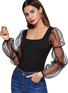 Romwe Women's Elegant Mesh Puff Sleeve Slim Fit Party Summer Crop Blouse Tops