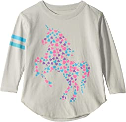 Super Soft Long Sleeve Heart Filled Unicorn Tee (Toddler/Little Kids)