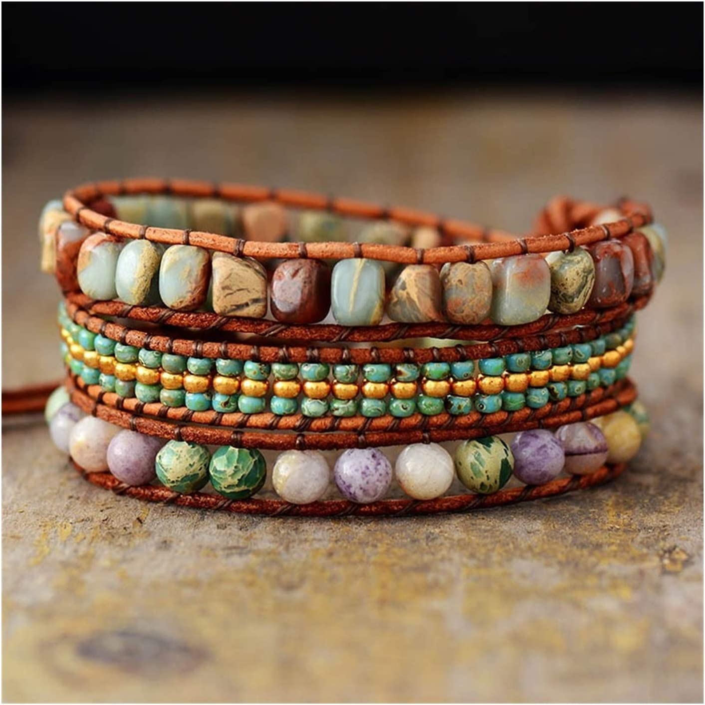 AOSUAI Multi Strand Leather Wrap NEW before selling Bracelets High material Jaspers Natural Stone
