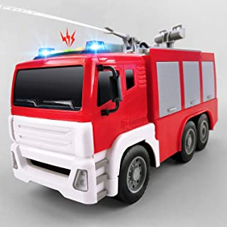 Gizmovine Toys for 2 Years Old Boys with Lights and Sounds, 1:12 Scale Firetruck Fire Engine Toy Rescue Vehicle with Extending Ladder Water Pump for Toddlers & Kids