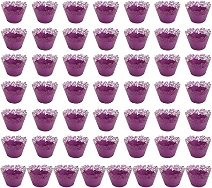 BESTONZON 50PCS Cupcake Wrappers/Cupcake Liners/Cake Paper Cups/Muffin Holder,Suitable for Wedding Birthday Party Decoration (Purple,8x8x5cm)