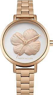 Karen Millen Women's Quartz Watch with Stainless-Steel Strap, Rose Gold, 12 (Model: KM126WRGM)