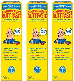 Boudreaux's Butt Paste Diaper Rash Ointment, Original, 4 Oz, Pack of 3