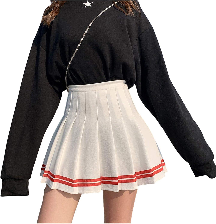 Women's Casual National uniform free shipping High Waist Plaid Pleated Mini Tennis Skirt S Trust