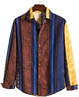 UUYUK Men's Long Sleeve Ethnic Style Contrast Color Loose Fit Button Front Shirt