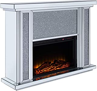 Acme Furniture Fireplace in Mirrored and Faux Stone Finish