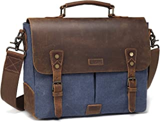 Laptop Messenger Bag,Vaschy Casual Genuine Leather Canvas Notebook Shoulder Bag Bookbag with Detachable Strap