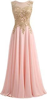 Gold Lace A Line Long Chiffon Women Formal Corset Prom Evening Dresses