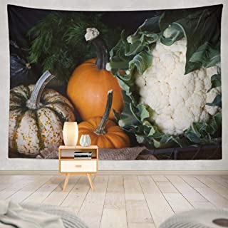 Wbluck Halloween Pumpkin Tapestry, Wall Hanging Tapestry, Fresh Harvest Pumpkins and Autumnal Psychedelic Tapestry Wall Decor for Room Decoration 60 L x 80 W, Fresh Harvest