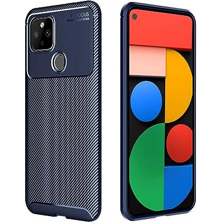 Google Pixel 4a 5G ケース TPU ソフトシリコン 耐衝撃 炭素繊維 衝撃吸収 傷防止 カメラ保護 防指紋、散熱加工の超薄型 おしゃれ Google Pixel 4a 5G ケース ブルー