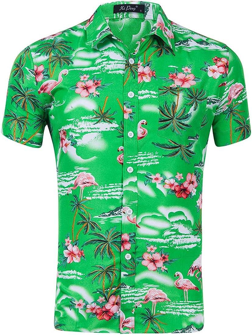 Men's Hawaiian Shirt Casual Fashion Flamingo 3D Print Short Sleeve Shirt