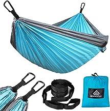 NATUREFUN Hamaca ultraligera de viaje para acampar | Capacidad de carga de 300 kg (275 x 140 cm) transpirable, mosquetones premium de secado rápido, 2 correas de nailon incluidas | para jardín interior exterior, textil, azul y gris