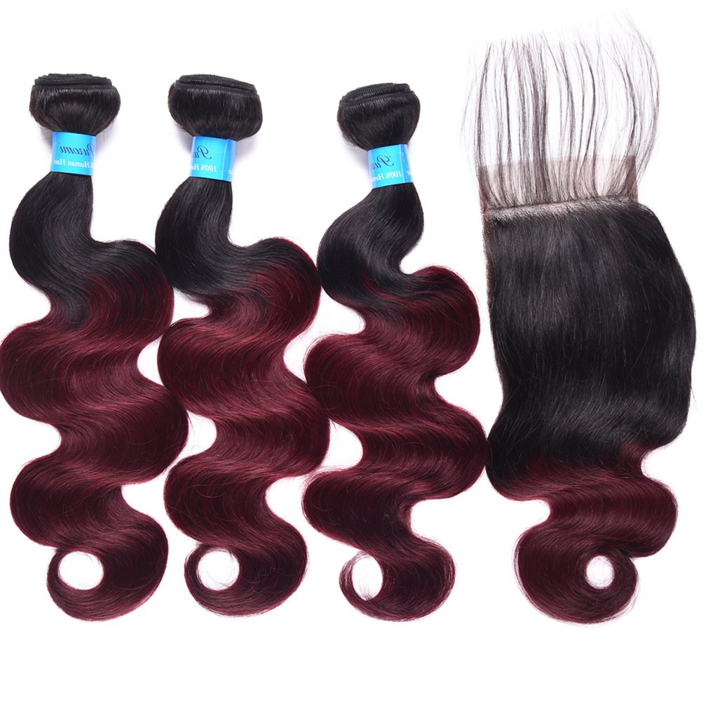 Cash special price Ombre T1B 99J Brazilian Body Wave with Closure Red W 8A To Black New Orleans Mall