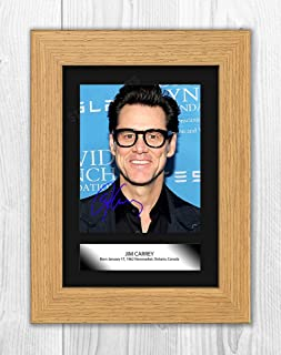 Engravia Digital Jim Carrey (1) Poster Mounted Signed Autograph Reproduction Photo A4 Print(Oak Frame)