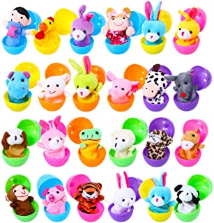 Acekid Soft Plush Animal Finger Puppets Set Baby Story Time Velvet Animal Style for Toddlers 24pcs with Eggs