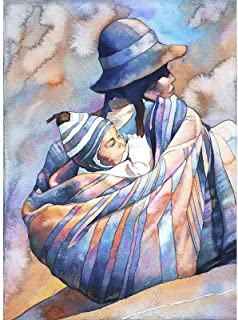 Traditionally dressed Quechua woman in the Plaza de Armas- Cusco, Peru. Watercolor painting (print).